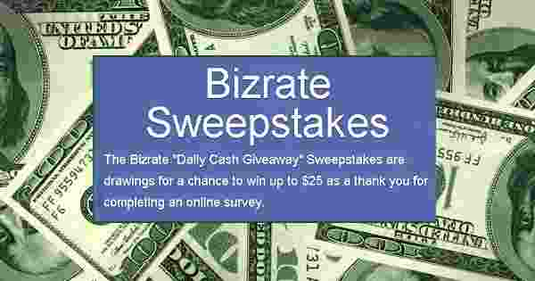 Bizrate Daily Cash Sweepstakes