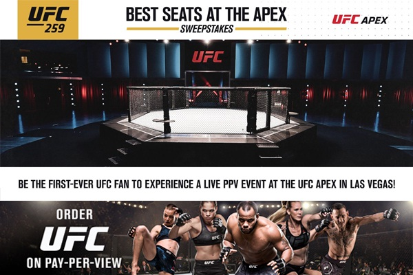 UFC 259 APEX Fight Trip Sweepstakes
